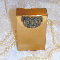Vintage Cigarette Case Roses Rhinestones Metal Hinged Case New York USA Gold Tone Products AVALON