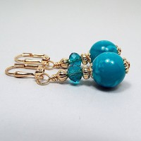 Teal Blue Drop Earrings, Gold Plated, Beaded Dangle, Summer Jewelry, Made with Vintage Lucite Beads, Lever Back Hook