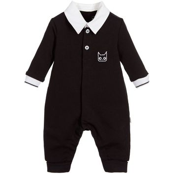 Karl Lagerfeld Baby Boys Black Onesuit with Collar
