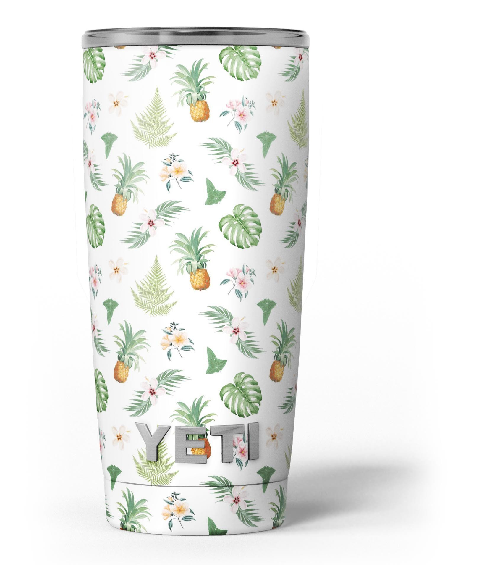 Image of The Tropical Pineapple and Floral Pattern - Skin Decal Vinyl Wrap Kit compatible with the Yeti Rambler Cooler Tumbler Cups