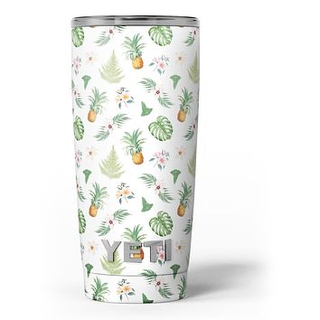 The Tropical Pineapple and Floral Pattern - Skin Decal Vinyl Wrap Kit compatible with the Yeti Rambler Cooler Tumbler Cups
