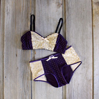 Sequin 'Dusk' Plum Purple and Gold Dot Lingerie Set Handmade to Order in your Measurements