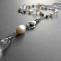 Bohemian crystal and pearl necklace / oxidized silver plated brass, freshwater pearl, rock crystal