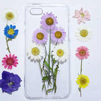 iPhone 6s case clear, iPhone 6 Case floral, Flower iPhone 6 Case,flower iPhone 6s Case, iPhone 6s Plus Case, pressed flower iphone case