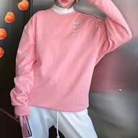 Nike Women Fashion Embroidery Long Sleeve Top Sweater Pullover Sweatshirt