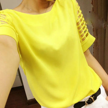 2017 Summer Chiffon Yellow Top Cute Cut Out Sleeves! Plus Size!