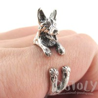 3D German Shepherd Shaped Animal Ring in 925 Sterling Silver | Sizes 5 to 9