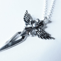 Gothic Winged Dagger Sword Cross Valkyrie Pendant on Chain Necklace