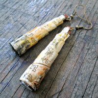 Rustic earrings - Upcycled, recycled, repurposed jewelry - Chinese Character Earrings - First Anniversary Gift - Eco-friendly Jewelry