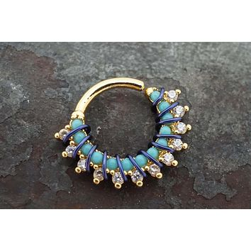 Gold Bali Hoop with Turquoise and CZ Crystals