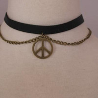 Black Velvet Choker and Chain with Peace