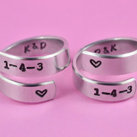 1-4-3 - Love Spiral Ring Pair Set, Hand stamped, Personalized Rings, Forever Love, Friendship