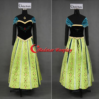 Snow Queen Anna Coronation Cosplay Costume Dress (Ver. C) --- Embroidery style