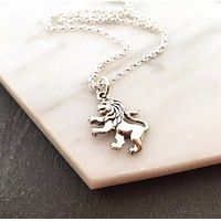 Lion Charm - Sterling Silver Necklace - Gift for Her