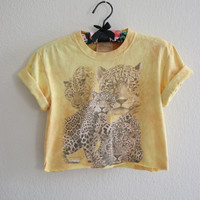 Leapoard graphic tee - upcycled - rolled sleeve crop top