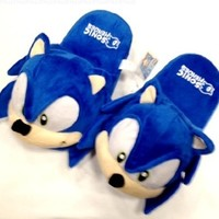 """Sonic Plush Slipper Adult Universal Size up to 10"""" long"""