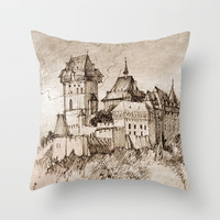 Castle Throw Pillow by Marianna Tankelevich
