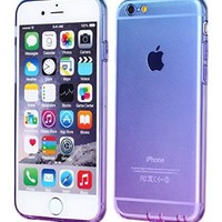 iPhone 6 Case,CLONG iPhone 6S Cover Colorful Clear Shell Slim Case Translucent Impact Resistant Flexible TPU Soft Bumper Case Protective Shell for Apple iPhone 6/6S 4.7 inch(Blue&Purple)