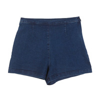 Side-Zipped High-Waist Denim Shorts