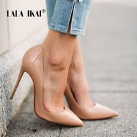 Women Shallow Pump Basic Solid Colors Slip On PU High Heels Fashion Shoes