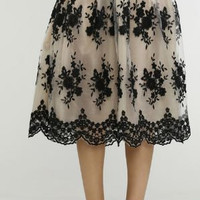 Flocked lace midi skirt