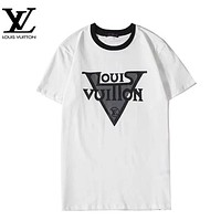 LV Louis Vuitton New fashion letter print couple top shirt White