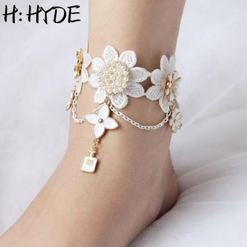 H:HYDE Sun Flowers Pendant Handmade Gothic Jewelry White Lace Women's Anklets Women Accessories Vintage Foot Chain Jewelry