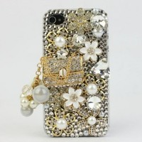 Nova Case 3D Bling Crystal iPhone Case for AT&T Verizon Sprint Apple iPhone 4/4S CoCo Bag and Flower