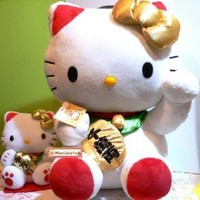 Large Sanrio Lucky Fortune Hello Kitty Cat Money Maneki Neko Mascot Plush Doll Toy 18""