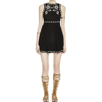Free People Womens Birds of a Feather Embroidered Sleeveless Casual Dress