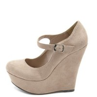 Sueded Mary Jane Wedge by Charlotte Russe - Oatmeal