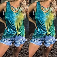 2020 new women's tie-dye printing casual sleeveless top