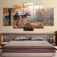 Deer in forest Picture 5 piece canvas wall art picture