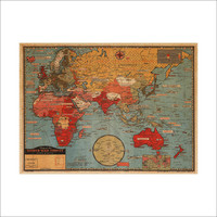 World Map Leather Sea Living Room Wall Sticker [6414269380]