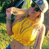 Vintage Crochet Crop Top Halter Cropped Camis Hollow Out Bra Strapless Cotton Crochet Tops