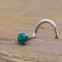 Black Fire Opal Nose Screw Ring Nose Stud