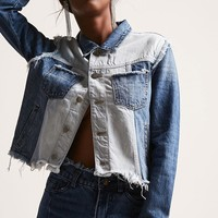 Colorblock Raw-Cut Denim Jacket
