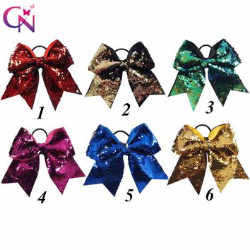 """7"""" Reversible Mermaid Sequin Cheer Bows With Ponytail Holder For Girls Kids Handmade Bling Elastic Hair Bows Hair Accessories"""