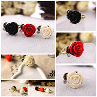 Fashion Cute Vintage Rose Flower Alloy Adjustable Rings 3 Colors Pick WHS24