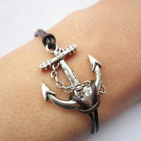 Braceletantique silver anchor&brown leather chain by lightenme