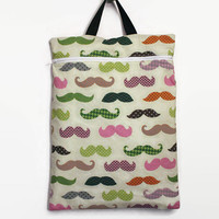 """Heat Sealed Hanging Wet Bag Over the Door Design-- Colorful Mustache Print with ProCare Waterproof Barrier Fabric Lining 12 1/2"""" x 17"""""""