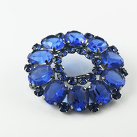 German Art Deco Brooch, Vintage, Deep Blue