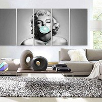 "30""x 70"" 5 Panels Art canvas Marilyn Monroe Blue Chewing Gum Black & White Wall deco"