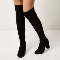 Black over-the-knee block heel boots - boots - shoes / boots - women