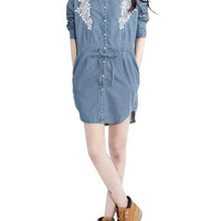 Denim Embroidery Shirt Dress