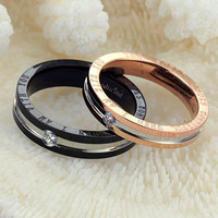 His and Hers Match Rings Set Titanium steel Austrian Rhinestone Couple rings (With Thanksgiving&Christmas Gift Box)= 1930232004