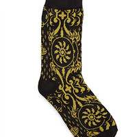 Abstract Patterned Socks Black/Gold One