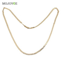 Fashion Jewelry Men Women Gold Plated Flat Curb Link Chain Necklace Gift  SN9