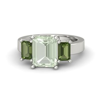 Emerald-Cut Green Amethyst 18K White Gold Ring with Green Tourmaline