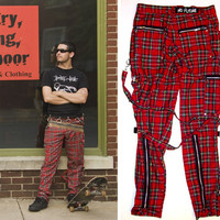 Sick Boy Bondage Pants in Red Plaid by No Future